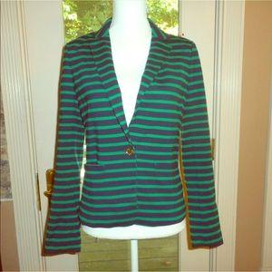 Michael kors green navy striped blazer jacket sz 6